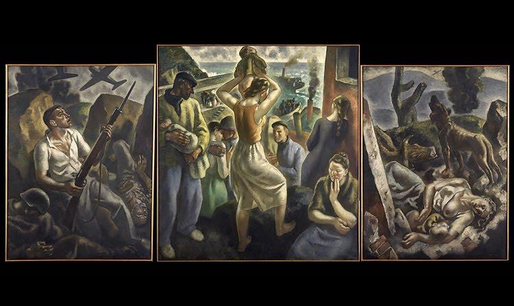 Tríptico de la Guerra del pintor bilbaíno Aurelio Arteta