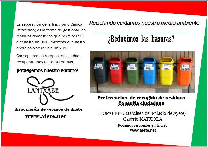 Campaña en Aiete por la recogida selectiva de los residuos urbanos