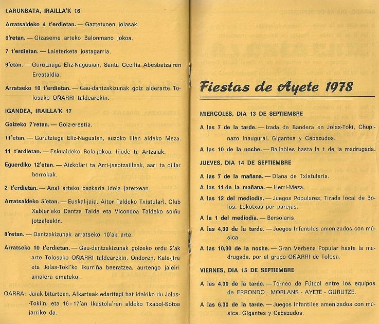 Programa de fiestas del año 1978
