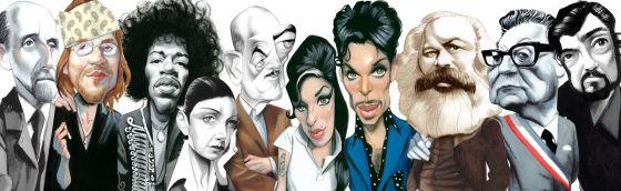 Juan Ramón Jiménez, David Foster Wallace, Jimi Hendrix, Dora Maar, Luis Buñuel, Amy Winehouse, Prince, Karl Marx, Salvador Allende y Julio Cortázar