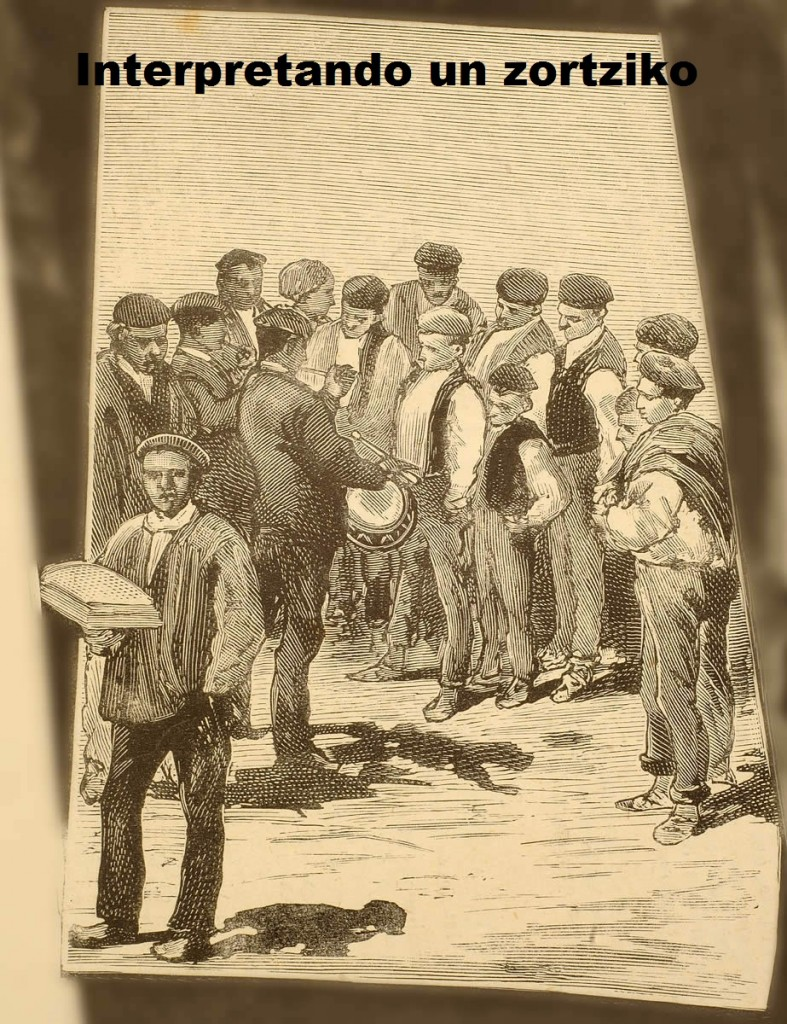 tipos euskaros tamborilero con  tocando un zortziko