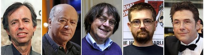 Bernard Maris, Georges Wolinski, Jean Cabut, Charb y Tignous. / Afp