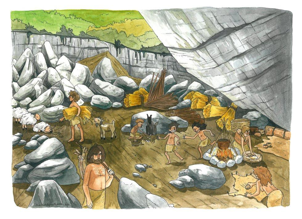 Recreación de la vida neolítica en Atapuerca distribuida por la U. de Upsala. / María de la Fuente