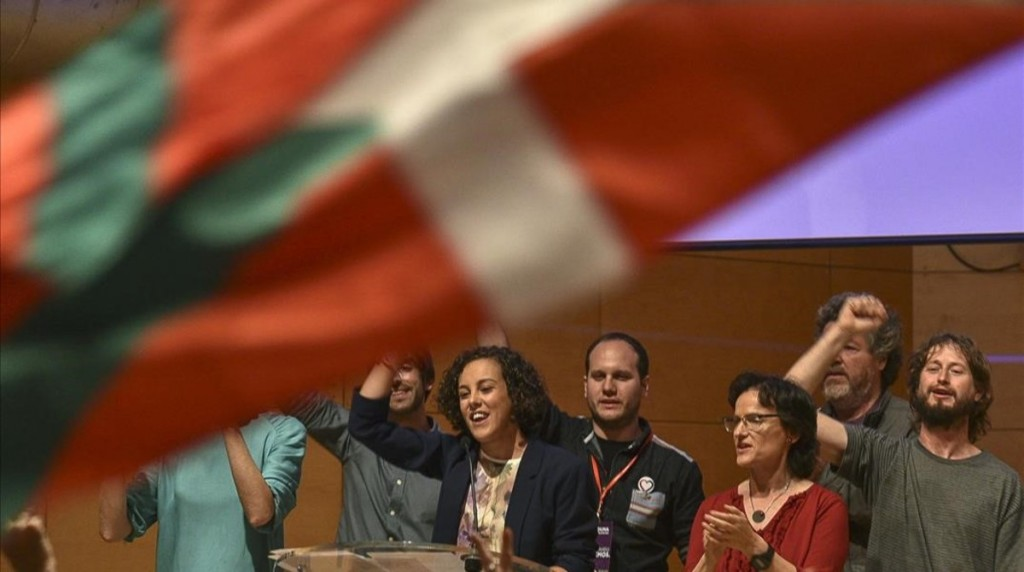 GRA699  BILBAO  26 06 2016 - La cabeza de lista de Unidos Podemos por Gipuzkoa  Nagua Alba  c   celebra con el resto de candidatos en Bilbao los resultados del escrutinio de las elecciones generales celebradas hoy  EFE Javier Zorrilla