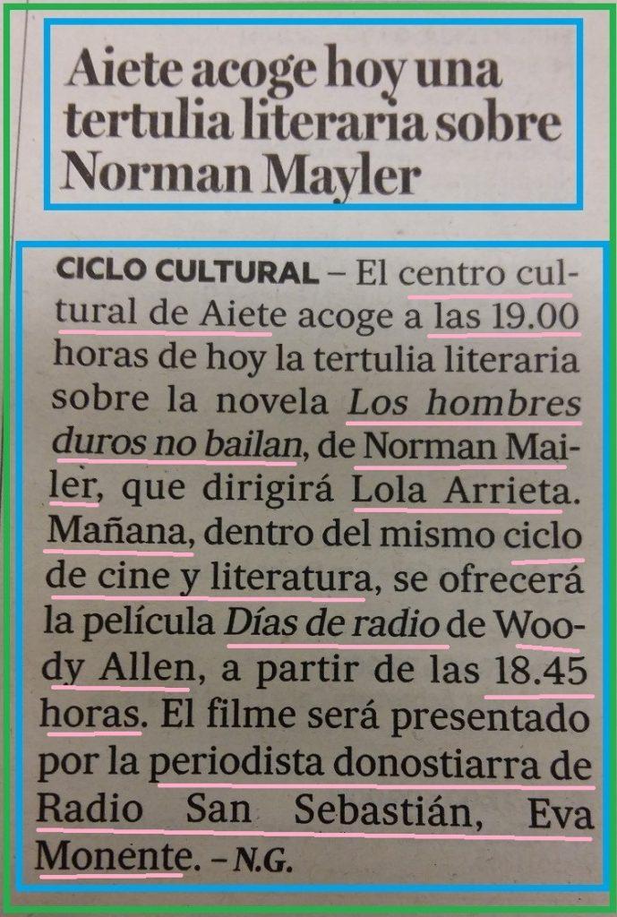 norman mayler EVA MONENTE