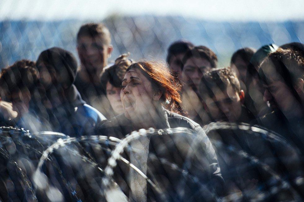 valla en la frontera entre Grecia y Macedonia